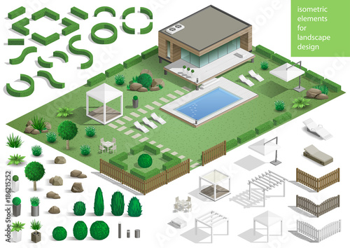 Fotobehang Wit Constructor for the surrounding area. Set of landscape elements stones and plants for the design of the garden or the park. Vector graphics. Architectural isometrics
