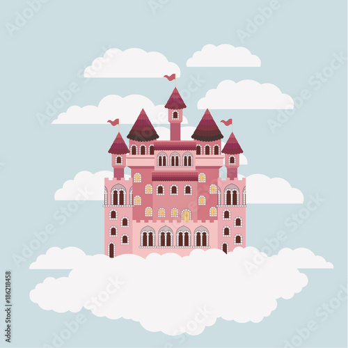 colorful castle of fairy tales in sky surrounded by clouds