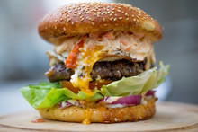 Close Up Of Tasty Egg Burger