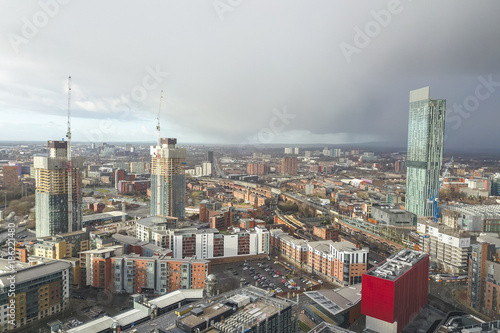 Aerial view drone manchester city centre hilton hotel beetham tower Canvas Print