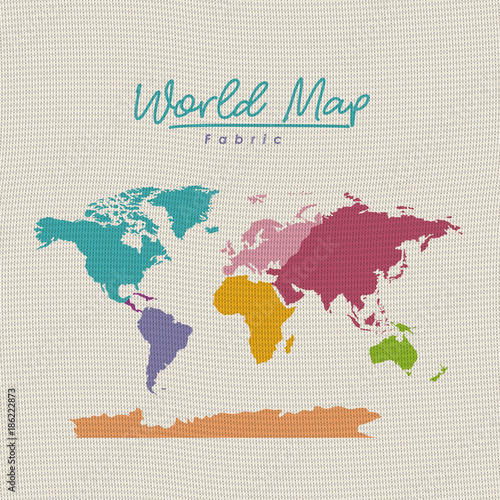 Garden Poster Retro sign world map fabric colorful on white background