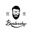 Barber Shop logo or label. Portrait of man with beard and mustache. Hipster face. Lettering vector illustration.