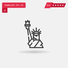 Statue Of Liberty Vector Icon.