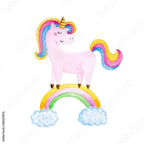In de dag Regenboog Isolated cute watercolor unicorn clipart. Nursery unicorns illustration. Princess unicorns poster. Trendy pink cartoon horse.