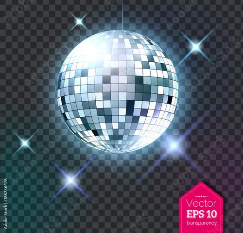 Fotografie, Obraz Silver disco ball with lights