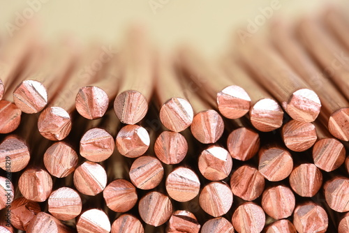 Fototapeta Copper wire raw materials and metals industry and stock market concept obraz