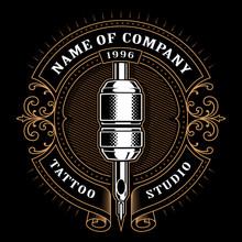 Vintage Tattoo Studio Emblem_1 (for Dark Background)