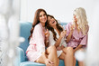 canvas print picture - Girls Party. Beautiful Women Friends In Robes Having Fun