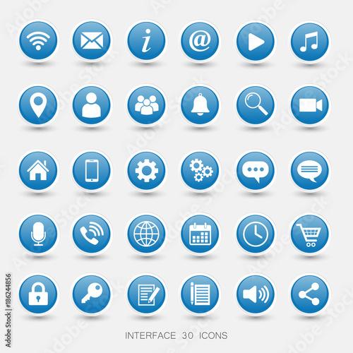 Fotografía  Media Icons glossy Blue