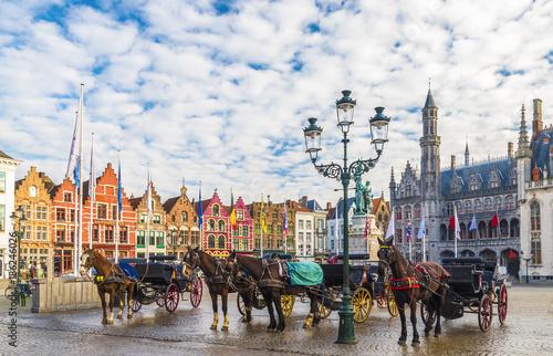 Tuinposter Brugge Grote Markt square in medieval city Brugge, Belgium.