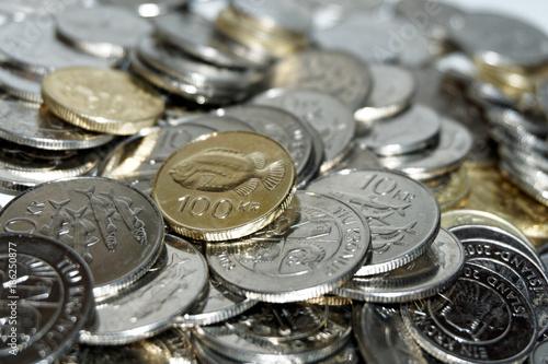 Fototapeta Islandzkie monety, różne nominały. obraz