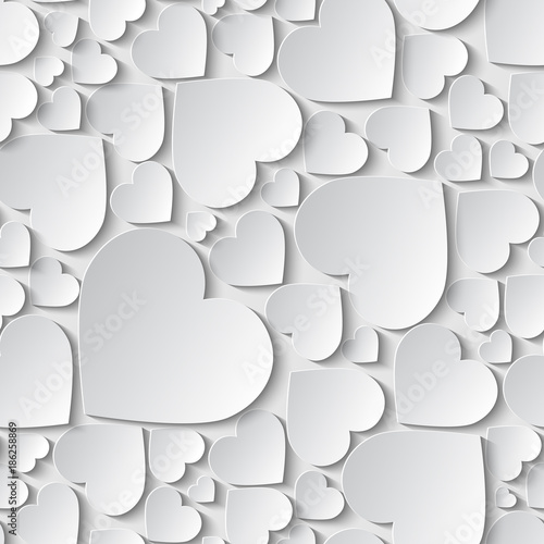 Fotografía  Amazing seamless pattern, background with paper cut out white hearts on white background