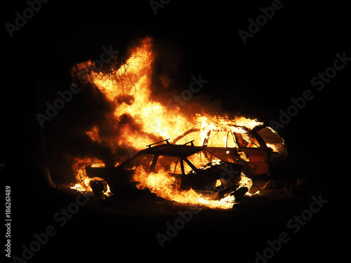 Photo Burning cars, unrest, anti-government