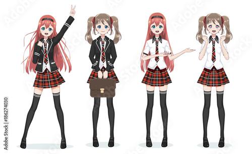 Beautiful anime manga schoolgirl in skirt - 186274030
