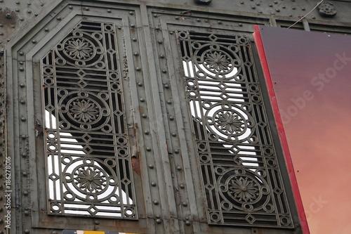 Ornate vintage ironwork on railway overpass in Dublin Ireland Poster