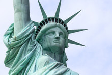 Close Up Of The Statue Of Liberty On Liberty Island In New York City. This Is The Copper Statue Which Is A Gift From The People Of France To The People Of The United States.