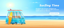 Surfing Van On The Sandy Beach, Sea Waves And Clear Sunny Day. Surf Bus Banner Design.