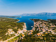Aerial - High ange view of village. Small Adriatic town