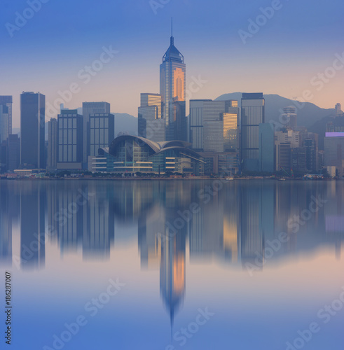 Hong Kong city skyline reflection. Poster