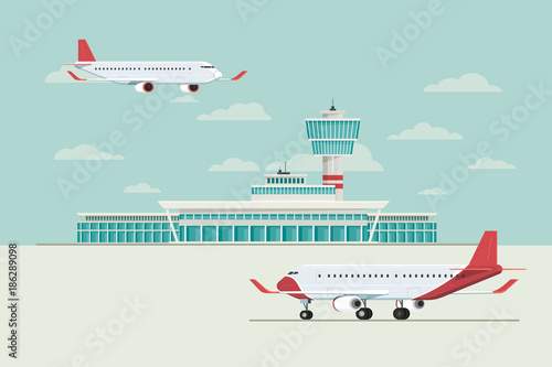 Plane at Airport arrivals and departures travel, Vector Illustration Canvas Print
