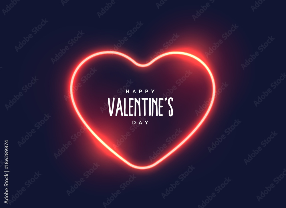 Fototapety, obrazy: stylish neon light heart for valentine's day