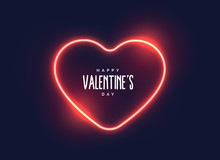 Stylish Neon Light Heart For Valentine's Day