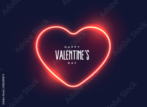 Fotografie, Obraz  stylish neon light heart for valentine's day