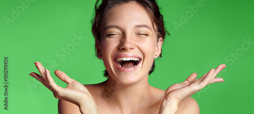 Fotografia  Smiling young girl with perfect skin