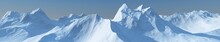 Panorama Of The Mountains. Mountain Landscape Tops Covered With Snow. Banner.