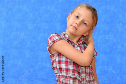 c8c7e47ae809 Studio shot of young preteen 9-10 year old redhead girl wearing heart shape  sunglasses