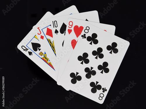 Fototapeta Poker hand straight