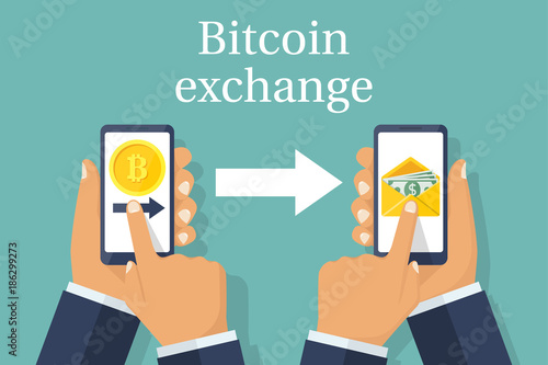 Exchange Of Currencies Bitcoin For Dollar Financial Transaction Mobile Phones In Hand Send Change To Dollars Vector Flat Design