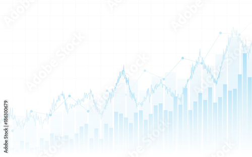 Fotografía  Abstract financial chart with up trend line graph and bar chart in stock market
