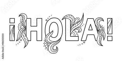 Black outline isolated hand drawn decorative word in spanish ...