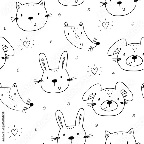 Papiers peints Cartoon draw Cute seamless pattern with funny Animals. Vector Illustration.
