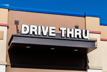 White And Blue Drive Thru Sign...