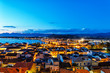 Aerial panoramic view of town Nafplio and sea harbour at night, Peloponnese, Greece
