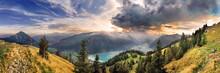 Blick Vom Rofan Zum Achensee Bei Sonnenuntergang