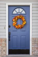 Blue Front Door With Festive Autumn Wreath