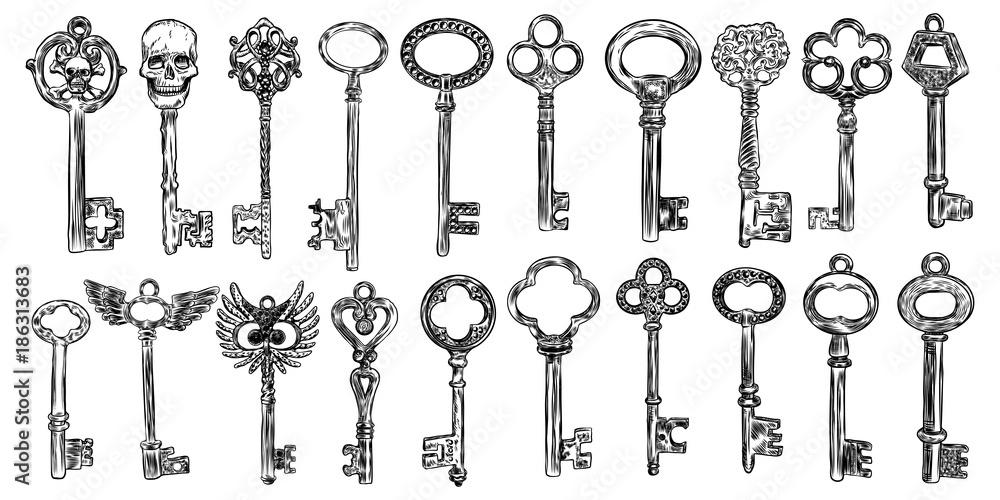 Fototapeta Big set of retro keys, vintage style. Key collection illustration for antiques decoration.  Ornamental medieval collection. Hand drawn old realistic design Vector.