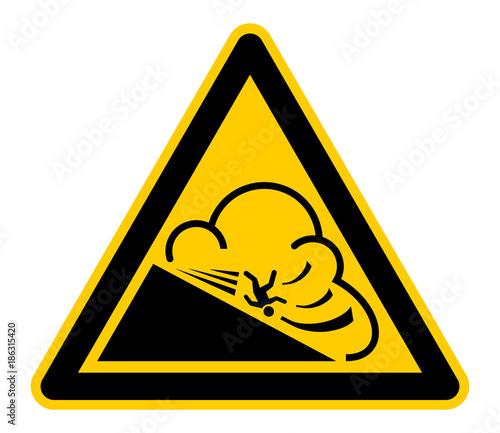 Fotografia wso317 WarnSchildOrange - german - Warnzeichen - Lawinengefahr: Warnung vor eine