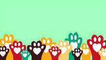 Colorful Animal Paws - Banner