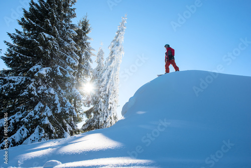 Tuinposter Wintersporten Low angle shot of a male snowboarder freerider standing on top of the ski slope preparing to ride in the sunny morning in the mountains copyspace snowboarding extreme lifestyle sports concept