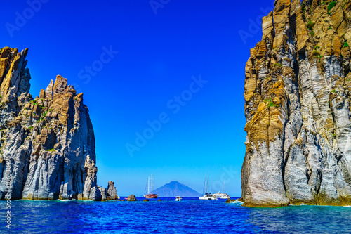 canvas print motiv - 4zoom4 : eolian island, landscape with rocks close to Stromboli volcano, Sicily