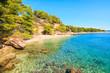 View of beautiful beach near Zlatni Rat at Bol on Brac island in summertime, Croatia