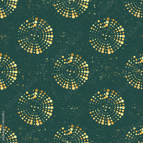Golden circles on dark green background, seamless vector