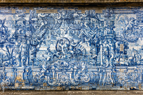 The cloister walls of Porto's Cathedral are decorated with the traditional Portugese blue and white painted tin-glazed ceramic tiles called Azulejos Canvas Print
