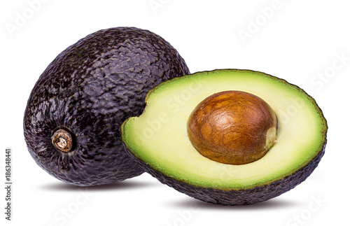 Valokuvatapetti Fresh avocado fruits  isolated on white background, with clipping path