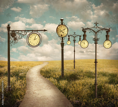 Surreal Landscape of Clocks