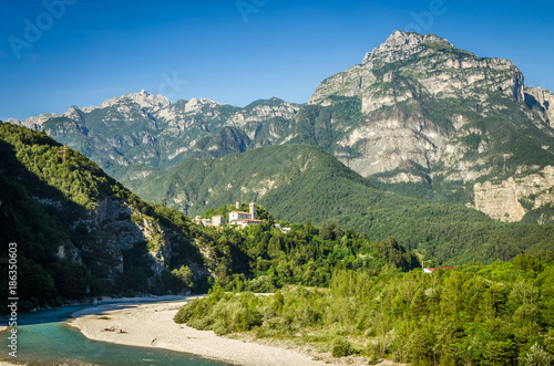 Summer panorama of Alps mountains Wallpaper Mural